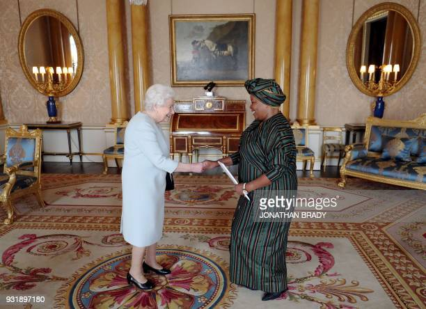 Britain's Queen Elizabeth II greets South Africa's High Commissioner to the United Kingdom Nomatemba Tambo during a private audience at Buckingham...