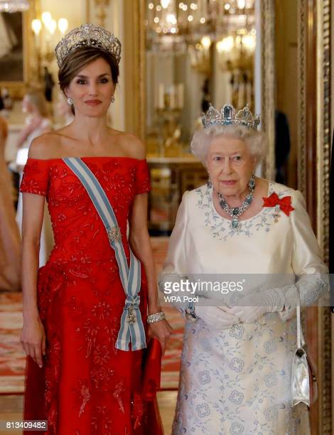 Britain's Queen Elizabeth II her husband Prince Philip Duke of Edinburgh King Felipe VI of Spain and Queen Letizia of Spain pose for a group...
