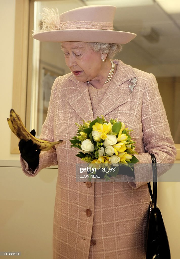 Britain's Queen Elizabeth II holds a bun : News Photo