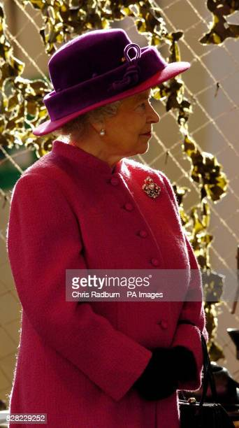 Britain's Queen Elizabeth II inside a camouflage tent during a tour of RAF Coltishall, Thursday November 17 2005, marking the 65th anniversary of the...