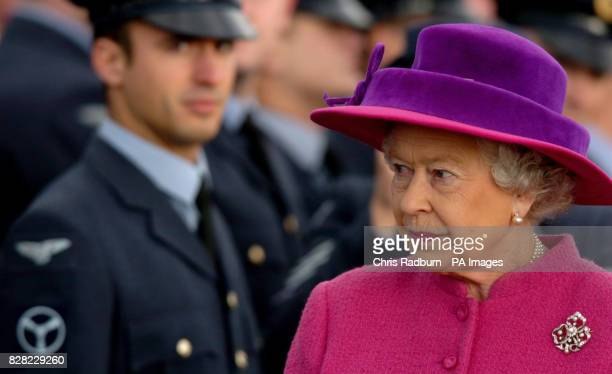 Britain's Queen Elizabeth II inspects the guard of honour at RAF Coltishall Thursday November 17 2005 marking the 65th anniversary of the airfield...