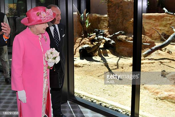 Britain's Queen Elizabeth II inspects the meerkat enclosure with chairman Tony Beddison as she officially opens the new Royal Children's Hospital...