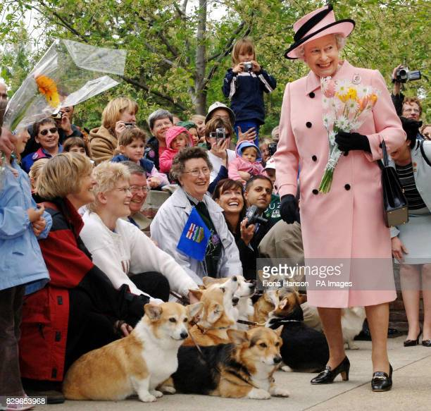 Britain's Queen Elizabeth II is greeted by local corgi enthusiasts as she departs the Legislature Building