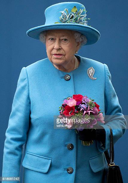 Britain's Queen Elizabeth II is photographed on October 27 2016 in Poundbury England The Queen and The Duke of Edinburgh accompanied by The Prince of...