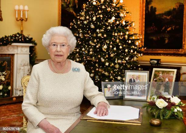 Britain's Queen Elizabeth II is pictured after recording her Chistmas Day broadcast to the Commonwealth in the 18th Century Room at Buckingham Palace...