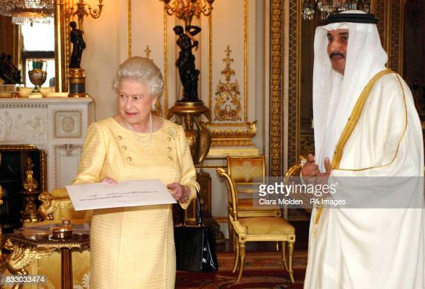Britain's Queen Elizabeth II is presented with Letters of Credence from the Ambassador of Bahrain His Excellency Sheikh Khalifa bin Mohammed Al...