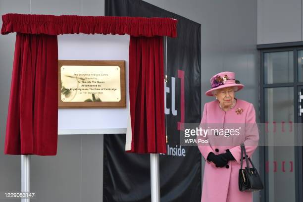 Britain's Queen Elizabeth II is seen after she unveiled a plaque to officially open the new Energetics Analysis Centre at the Defence Science and...