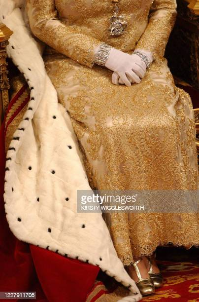 Britain's Queen Elizabeth II is seen at the House of Lords during the State Opening of Parliament 23 November 2004, in London. The British government...