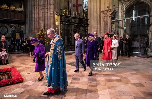 Britain's Queen Elizabeth II leads Britain's Prince Charles Prince of Wales Britain's Camilla Duchess of Cornwall Britain's Prince William Duke of...