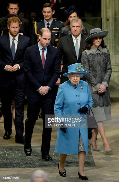 Britain's Queen Elizabeth II leads other members of the royal family in Westminster Abbey in central London on March 14 as they attend a Commonwealth...