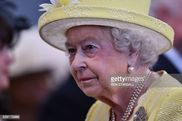 Britain's Queen Elizabeth II leaves a national service of thanksgiving for the 90th birthday of Britain's Queen Elizabeth II at St Paul's Cathedral...