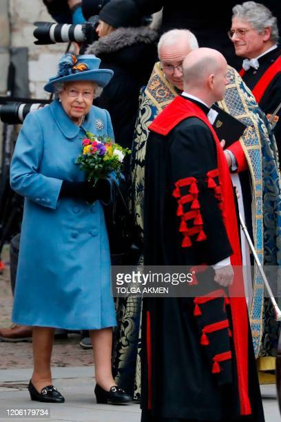 Britain's Queen Elizabeth II leaves after attending the annual Commonwealth Service at Westminster Abbey in London on March 09 2020 Britain's Queen...
