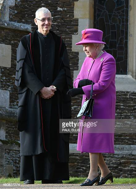 Britain's Queen Elizabeth II leaves after attending with other members of the royal family the traditional Christmas Day Church Service at...