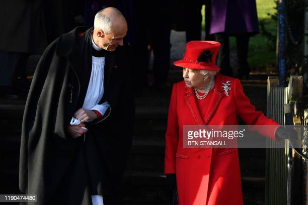 Britain's Queen Elizabeth II leaves after the Royal Family's traditional Christmas Day service at St Mary Magdalene Church in Sandringham, Norfolk,...