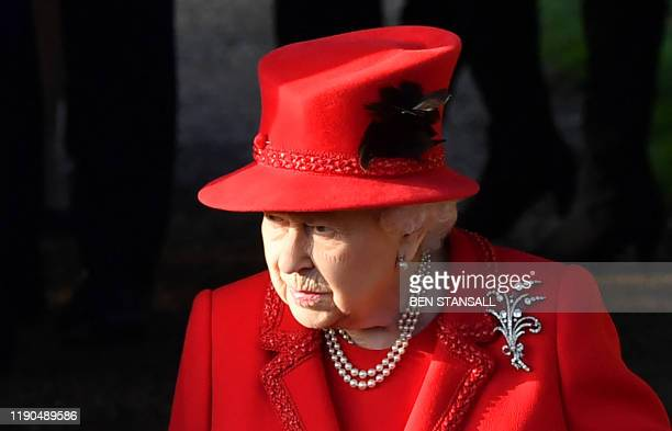 Britain's Queen Elizabeth II leaves after the Royal Family's traditional Christmas Day service at St Mary Magdalene Church in Sandringham Norfolk...
