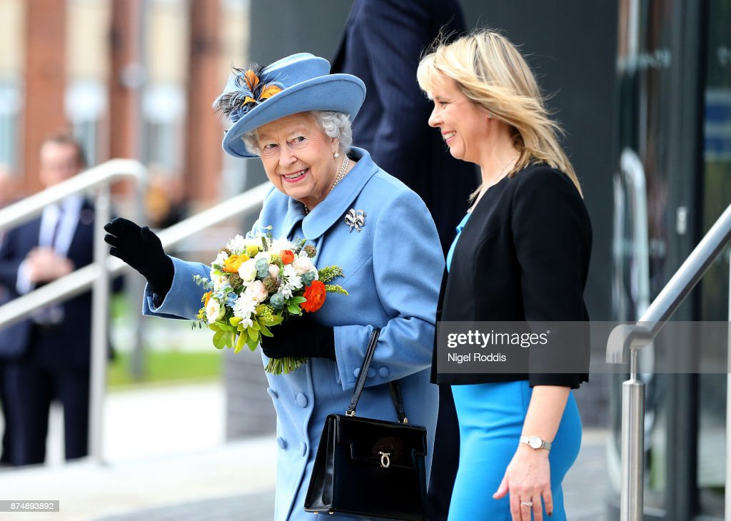 Britain's Queen Elizabeth II leaves Hull University during a visit to the city on November 16, 2017 in Kingston upon Hull, England.