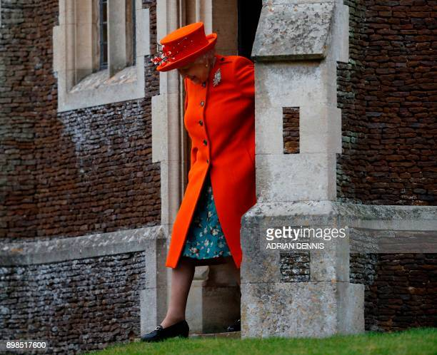 Britain's Queen Elizabeth II leaves the church after attending the Royal Family's traditional Christmas Day church service at St Mary Magdalene...