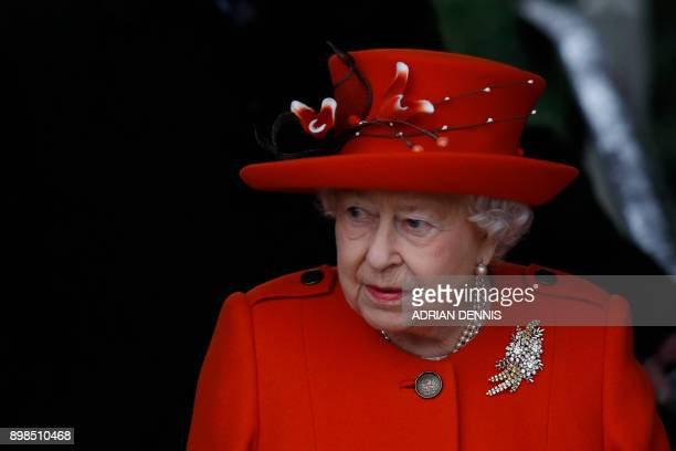 Britain's Queen Elizabeth II leaves the church after the Royal Family's traditional Christmas Day service at St Mary Magdalene Church in Sandringham,...