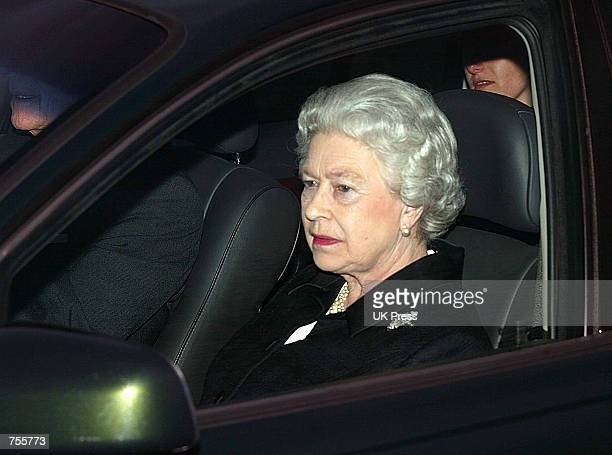 Britain's Queen Elizabeth II leaves the Royal Chapel of All Saints in Windsor March 31 2002 after the evensong service following the death of...