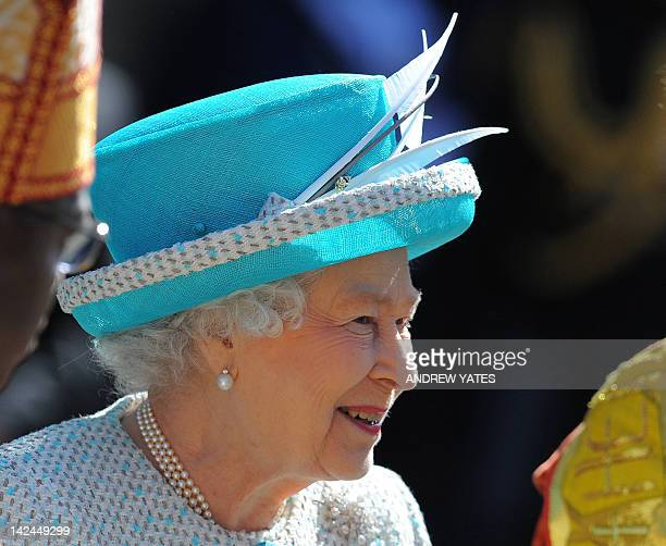 Britain's Queen Elizabeth II leaves the Royal Maundy Service at York Minster in York northern England on April 5 2012 During the Royal Maundy Service...