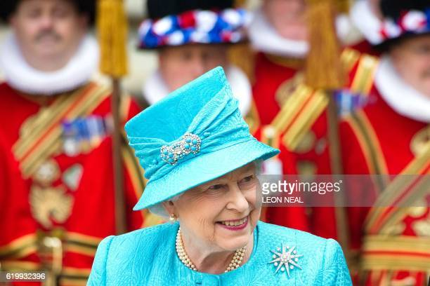 Britain's Queen Elizabeth II leaves Westminster Abbey in central London following the Royal Maundy Service on April 21 2011 Queen Elizabeth II...
