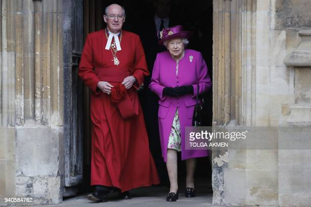 Britain's Queen Elizabeth II leaves with Dean of Windsor David Conner after attending the Easter Mattins Service at St George's Chapel Windsor Castle...