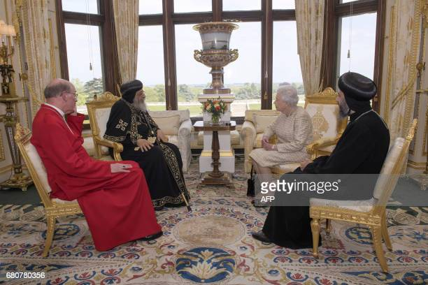 Britain's Queen Elizabeth II meets His Holiness Pope Tawadros II 118th Pope of Alexandria and Patriarch of the See of Saint Mark with His Grace...