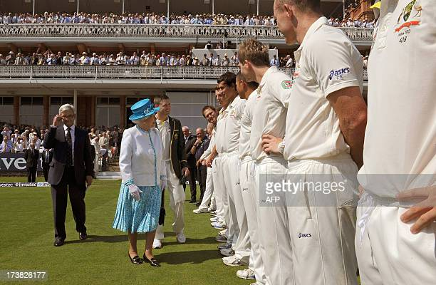 Britain's Queen Elizabeth II meets the Australian cricket squad before the start of the first day of the second Ashes cricket test match between...