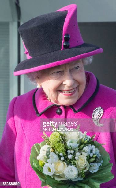 Britain's Queen Elizabeth II pays a visit to the Sainsbury Centre for Visual Arts at the University of East Anglia in Norwich east England on January...