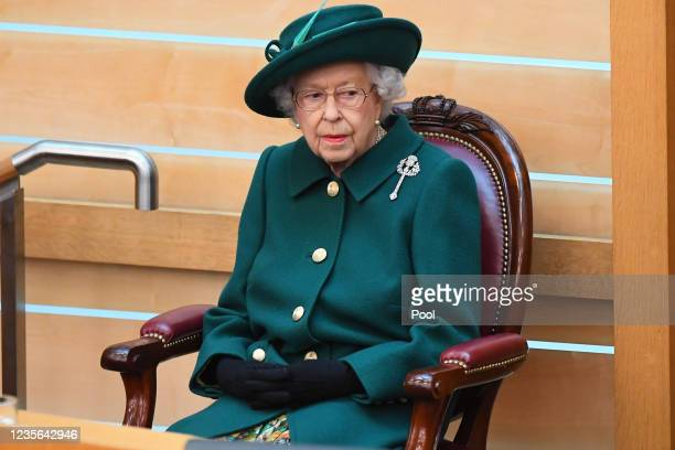 Britain's Queen Elizabeth II prepares to make her Address to Parliament in the Debating Chamber during the opening of the sixth session of the...