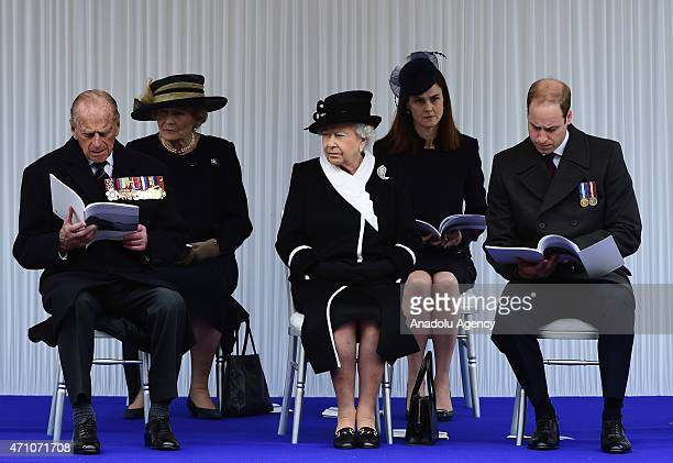 Britain's Queen Elizabeth II Prince Philip Duke of Edinburgh and Prince William Duke of Cambridge attend a ceremony for the centenary of the...