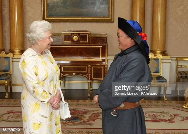 Britain's Queen Elizabeth II receives Bulgaa Altangerel the Ambassador of Mongolia at Buckingham Palace in London