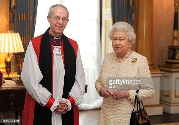 Britain's Queen Elizabeth II receives new Archbishop of Canterbury Justin Welby at Buckingham Palace in central London on February 26 2013 after his...