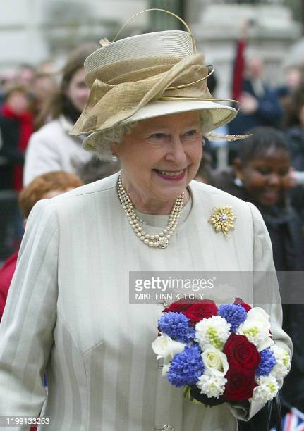 Britain's Queen Elizabeth II smiles as she leaves the Churchill Museum at the Cabinet War Rooms in London 10 February 2005 In response to Prince...