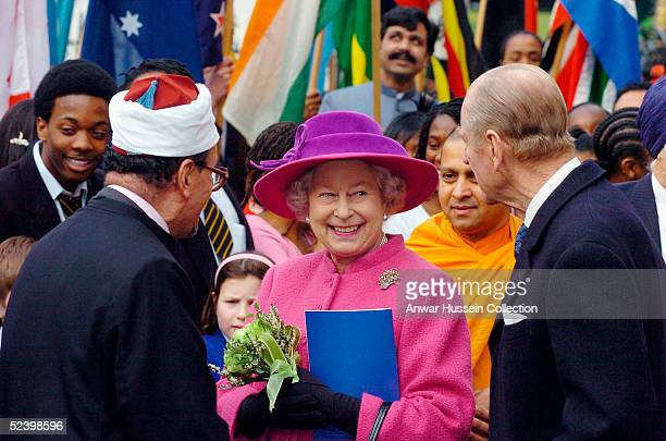 Britain's Queen Elizabeth II smiles at HRH The Duke of Edinburgh as they leave an Observance for Commonwealth Day 2005 service held at Westminster...