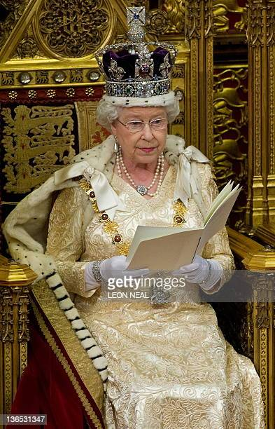 Britain's Queen Elizabeth II speaks during her address to the house of Lords during the State Opening of Parliament in Westminster central London on...