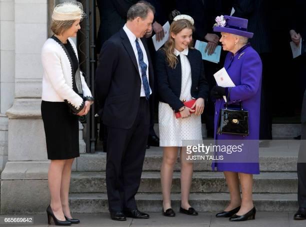 Britain's Queen Elizabeth II speaks to Serena ArmstrongJones Countess of Snowdon David ArmstrongJones 2nd Earl of Snowdon known as David Linley and...