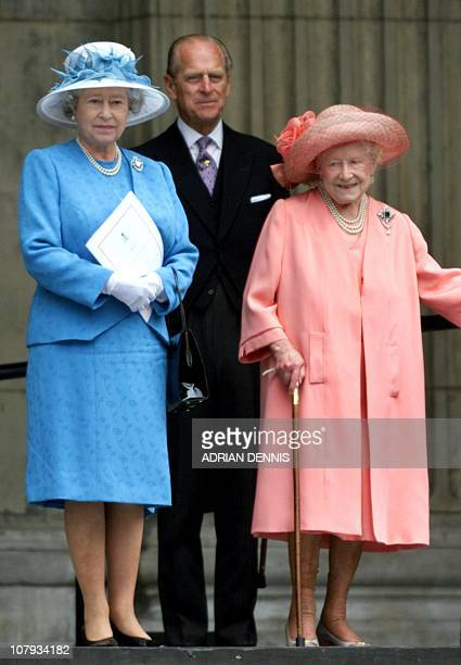 Britain's Queen Elizabeth II stands with Queen Mother and Duke of Edinburgh after attending a national service of thanksgiving in celebration of her...