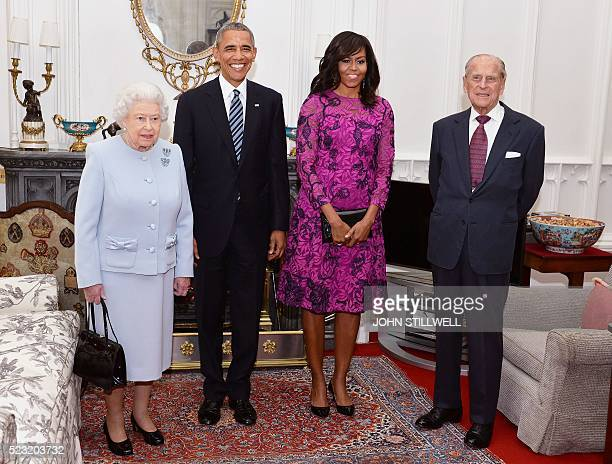 Britain's Queen Elizabeth II, US President Barack Obama, US First Lady Michelle Obama and Prince Philip, Duke of Edinburgh, pose for a photograph in...