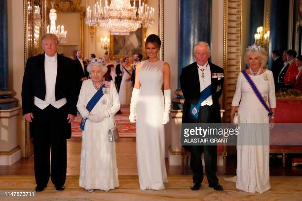 Britain's Queen Elizabeth II US President Donald Trump US First Lady Melania Trump Britain's Prince Charles Prince of Wales and Britain's Camilla...