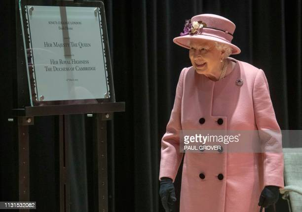 Britain's Queen Elizabeth II visits Kings College to open Bush House the latest education and learning facilities on the Strand Campus in central...