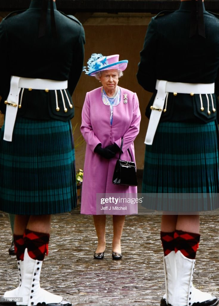 Britain's Queen Elizabeth II visits Stirling Castle the home of the Argyll and Sutherland Highlanders, 5th Battalion The Royal Regiment of Scotland on July 3, 2007 in Stirling, Scotland. Her Majesty also attended a service in the Chapel Royal before meeting serving soldiers, affiliated units, TA and cadets.