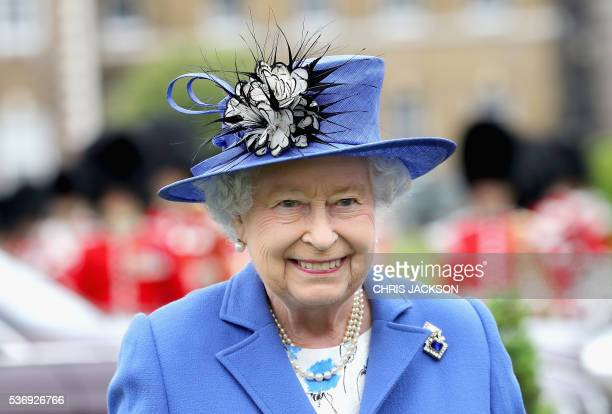 Britain's Queen Elizabeth II visits the Honourable Artillery Company in London on June 1 2016 The engagement marks the Queen becoming the longest...