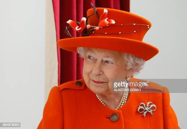 Britain's Queen Elizabeth II visits the Royal Academy of Arts in London on March 20, 2018. - The Royal Academy of Arts has completed a major...