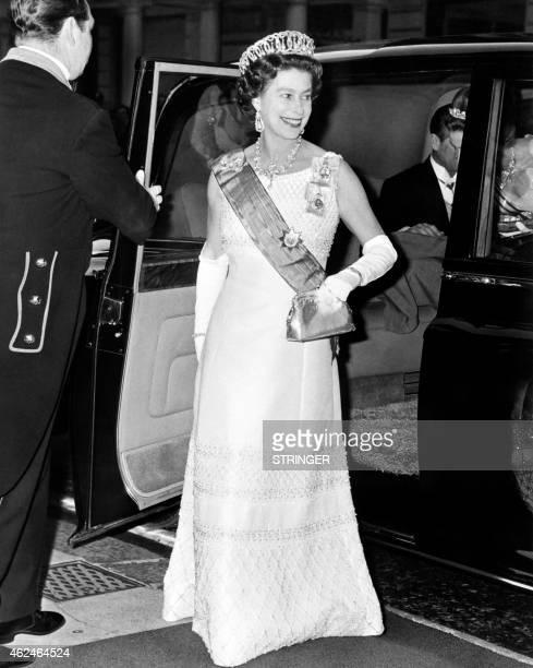 Britain's Queen Elizabeth II wearing the Vladimir Tiara arrives on June 15 1972 at the Claridge in London The tiara Made for Grand Duchess Vladimir...