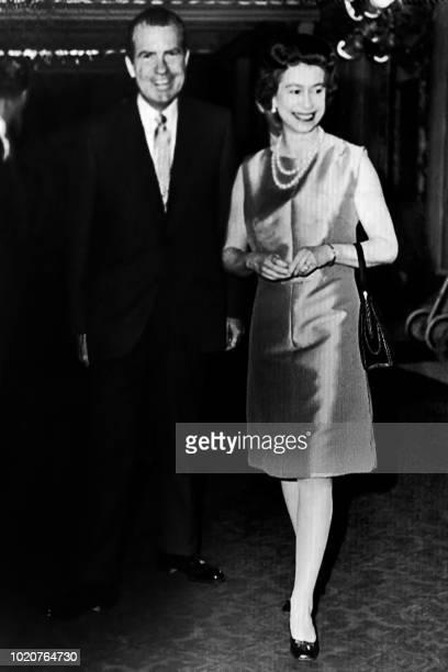 Britain's Queen Elizabeth II welcomes on February 25 1969 US President Richard Nixon at Buckingham Palace in London