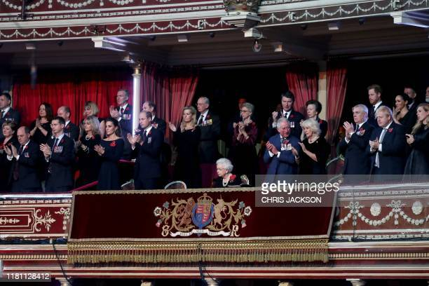 Britain's Queen Elizabeth II with Catherine Duchess of Cambridge Prince William Duke of Cambridge Prince Edward Earl of Wessex Sophie Countess of...