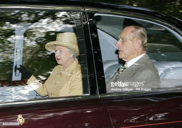 Britain's Queen Elizabeth II with The Duke of Edinburgh leave Crathie church in Crathie Kirk Aberdeenshire after attending a Sunday service