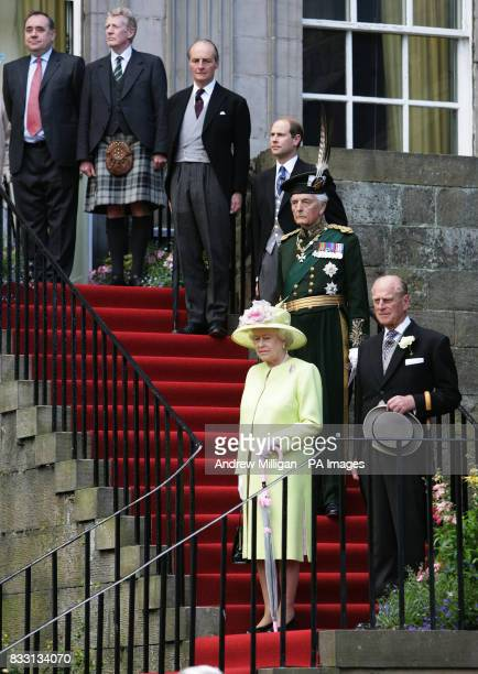 Britain's Queen Elizabeth II with the Duke of Edinburgh the Earl of Wessex and Scottish First Minister Alex Salmond at a Garden Party held at the...