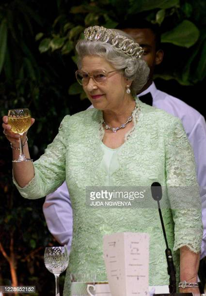 Britain's Queen Elizabeth shares a champagne toast with members of the South African government during a state banquet in Pretoria at the...